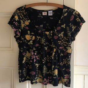 Anthropologie Cross Stitch Heart Floral Top